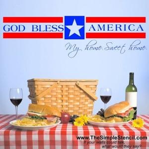 God Bless America Patriotic Wall Decoration
