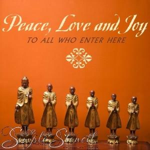 """Peace, love & joy to all who enter here"" - Spiritual Custom Vinyl Wall Transfer"