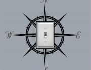 Compass Light Switch Vinyl Decal Cover - Beach & Nautical