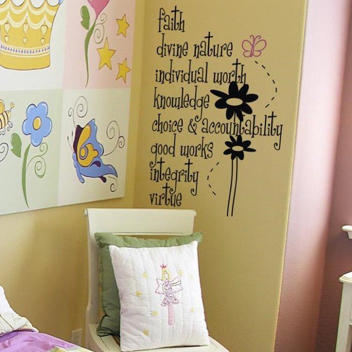 """Faith, Divine Nature, Individual Worth, Knowledge, Choice & Accountability"" - Spiritual Quotes Vinyl Wall Art"