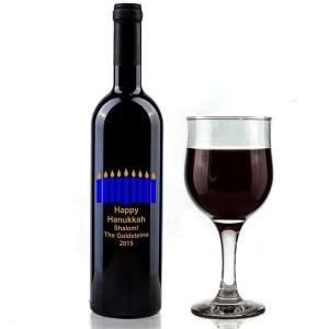 Hanukkah Wine Bottle with Menorah Vinyl Decal & Lettering