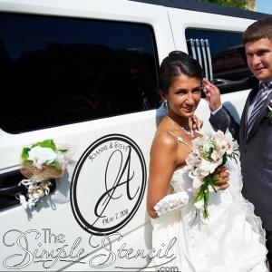 Mongrammed Wedding Car Decorations using Custom Vinyl Decals & Letters
