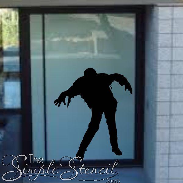 Halloween Frankenstein Zombie Man Vinyl Wall Window Decal 600x600