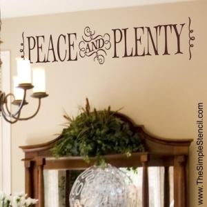 Peace & Plenty Custom Vinyl Wall Lettering Thanksgiving 700x700